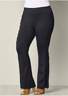 plus size lace up boot cut pants