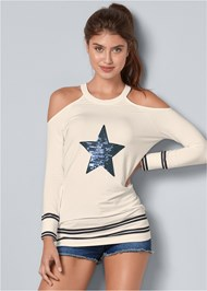 Front View Sequin Star Sweatshirt
