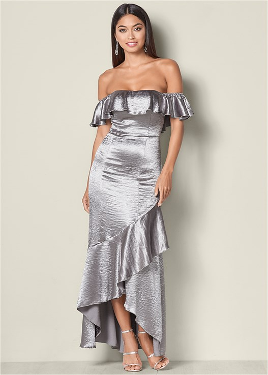 RUFFLE DETAIL LONG DRESS,HIGH HEEL STRAPPY SANDALS,PEARL DROP EARRINGS