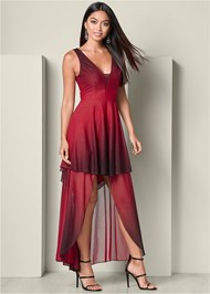 Front View Ombre High Low Dress
