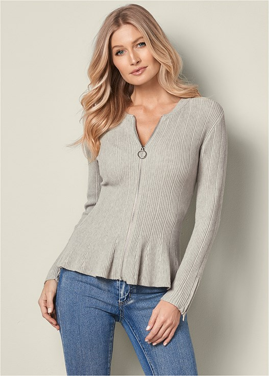 ZIPPER FRONT PEPLUM SWEATER,BUM LIFTER JEANS,LACE UP TALL BOOT