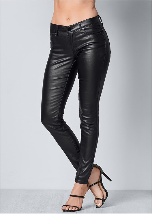 Faux Leather Pants in Black | VENUS
