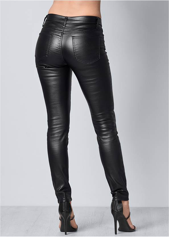 Back View Faux Leather Pants