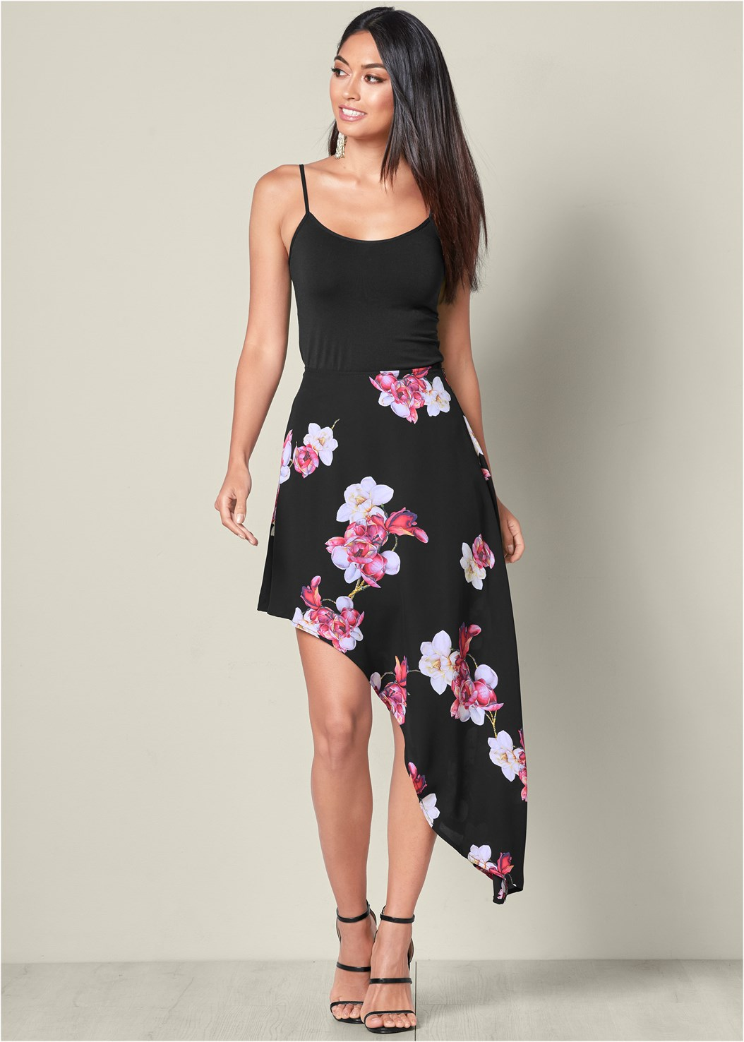 Printed Skirt,Basic Cami Two Pack,High Heel Strappy Sandals