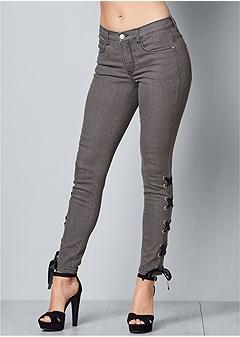 lace up detail jeans