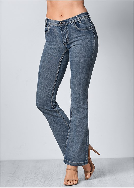 CASUAL BOOT CUT JEANS,RIBBED V-NECK TOP
