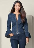 ruffle sleeve jean jacket