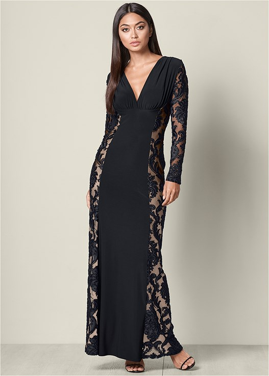LACE DETAIL LONG DRESS,HIGH HEEL STRAPPY SANDALS