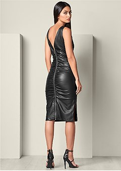 faux leather ruching dress