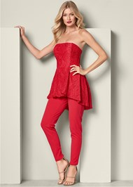 Front View High Low Detail Jumpsuit