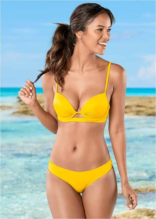 LOW RISE BIKINI BOTTOM,PUSH UP BIKINI TOP,HIGH NECK KEYHOLE TOP,STRAPPY PUSH UP BIKINI TOP