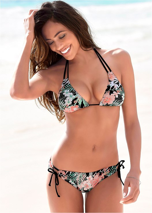 STRAPPY TRIANGLE BIKINI TOP,LOOP TIE SIDE BIKINI BOTTOM,FOLD WAIST MODERATE BOTTOM,STRING SIDE BIKINI BOTTOM,RUFFLE EDGE LOW RISE BOTTOM,SCOOP FRONT BIKINI BOTTOM