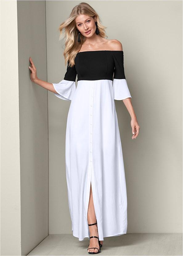 Mixed Media Maxi Dress,High Heel Strappy Sandals