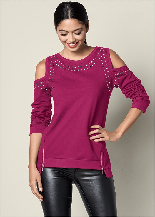 COLD SHOULDER SWEATSHIRT,FAUX LEATHER PANTS,PERFORATED LACE UP HEEL