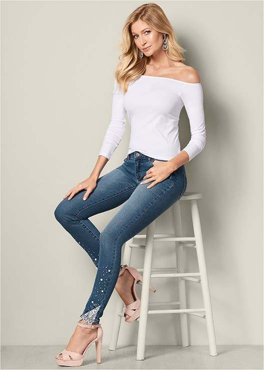 EMBELLISHED JEANS,OFF THE SHOULDER TOP,PLATFORM PEEP TOE HEEL,STRETCH LACE HIPSTER,PEARL DROP EARRINGS