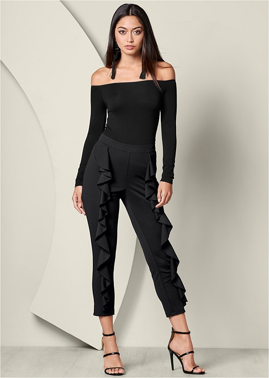 RUFFLE DETAIL PANTS,OFF THE SHOULDER TOP,HIGH HEEL STRAPPY SANDALS