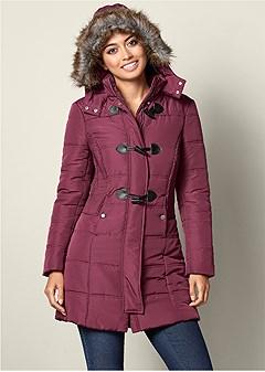 faux fur detail puffer coat