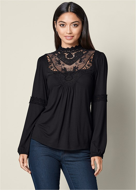LACE DETAIL TOP,COLOR SKINNY JEANS,FAUX SUEDE POINTY BOOTIE
