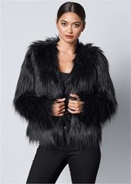 FRONT VIEW Faux Fur Jacket