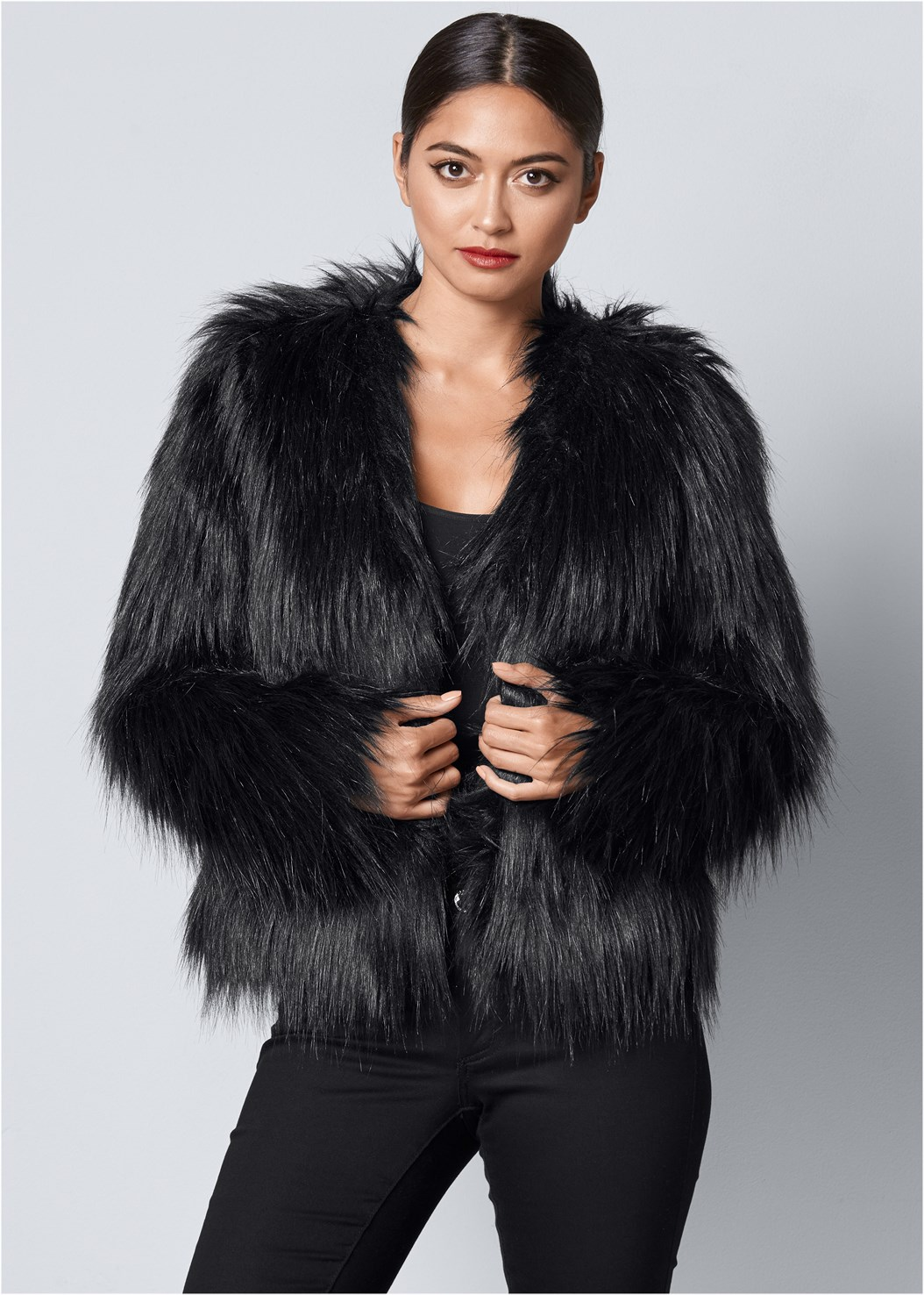Faux Fur Jacket,Seamless Cami,Mid Rise Color Skinny Jeans
