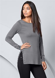 Front View Grommet Detail Sweater