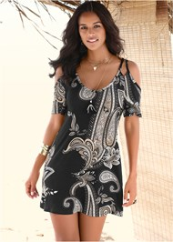 Front View Cold Shoulder Casual Dress