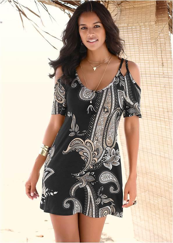 Cold Shoulder Casual Dress,Pearl™ By Venus Strapless Bra,Peep Toe Mules,Hoop Detail Earrings,Striped Straw Tote