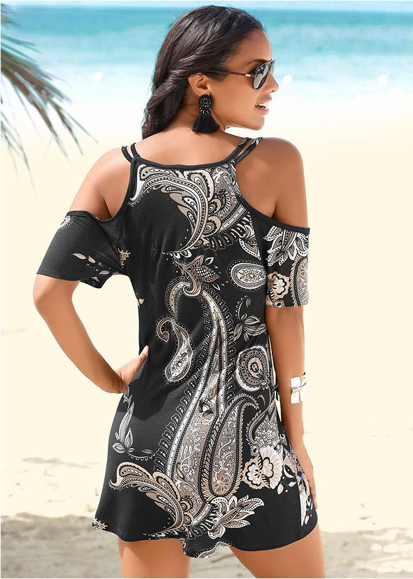 Back View Cold Shoulder Casual Dress