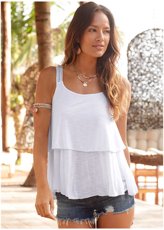 LAYERED TANK,CUT OFF JEAN SHORTS,EMBELLISHED JELLY SANDALS