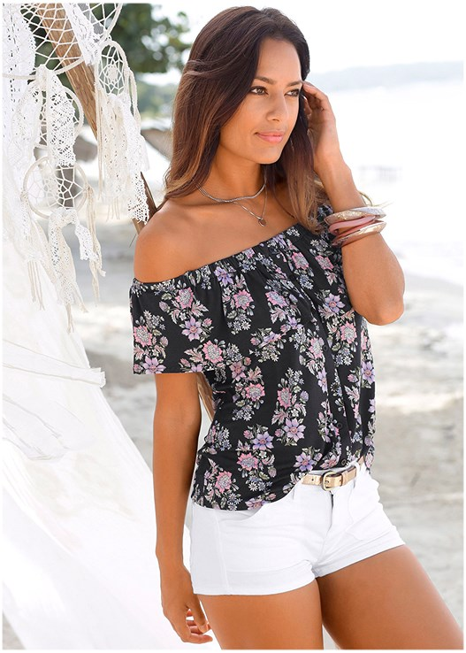 OFF THE SHOULDER FLORAL TOP,CUT OFF JEAN SHORTS,BEADED HOOP EARRINGS