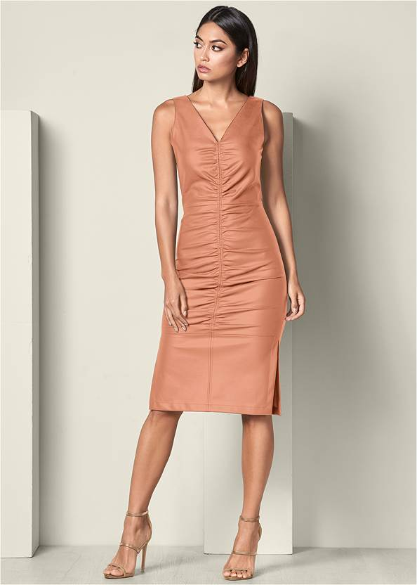 Front View Faux Leather Ruching Dress