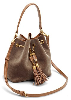 velvet mini bucket bag