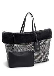 Front View Steve Madden Plaid Tote