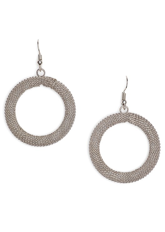 MESH HOOP EARRINGS,NECK DETAIL JUMPSUIT,HIGH HEEL STRAPPY SANDAL