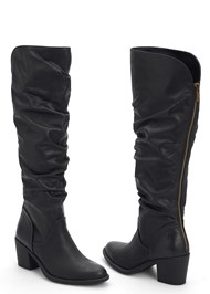 Front View Slouchy Mid Calf Boots