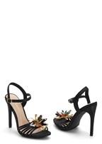 embellished flower heel