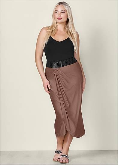 Plus Size Faux Leather Waistband Detail Maxi Skirt