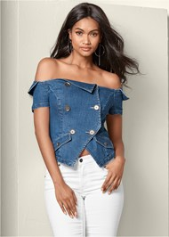 Cropped front view Off The Shoulder Denim Top