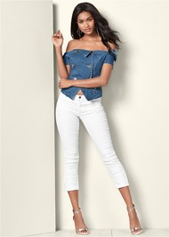 Full front view Off The Shoulder Denim Top