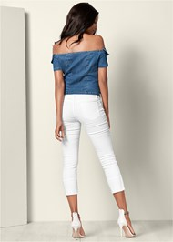 Full back view Off The Shoulder Denim Top