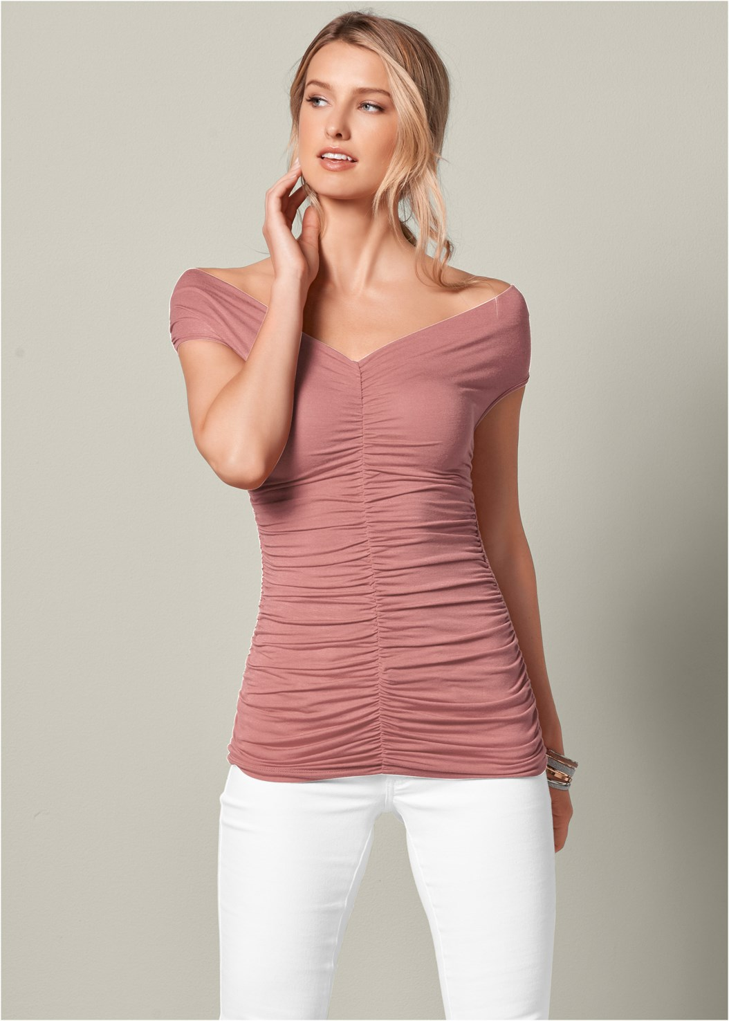 Ruched Detail Top,Mid Rise Color Skinny Jeans