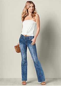 seam detail boot cut jeans