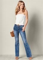 seam detail boot cut jeans