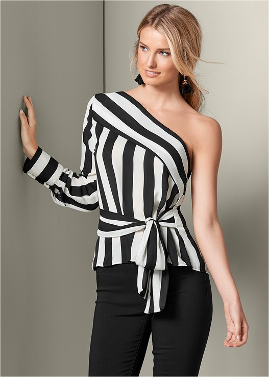 STRIPE ONE SHOULDER TOP,SLIMMING STRETCH JEGGINGS