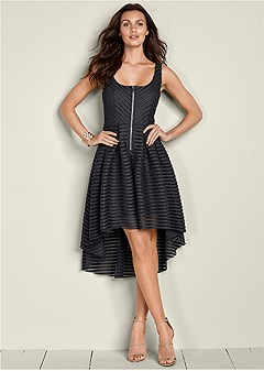 high low zip detail dress