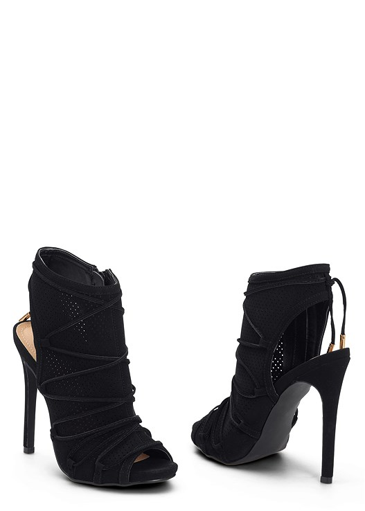 PERFORATED LACE UP HEEL