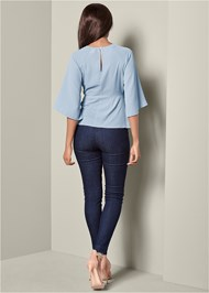 Back View Tie Front Blouse