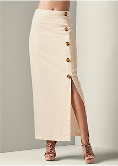 button detail linen skirt