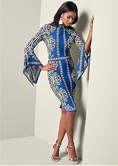 print sleeve detail dress