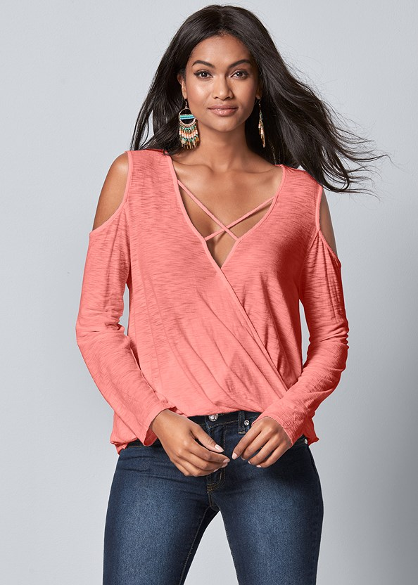 Strappy Surplice Top,Mid Rise Color Skinny Jeans